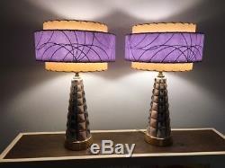 Pair Mid Century Vintage Style 3 Tier Fiberglass Lamp Shade Modern Lavender