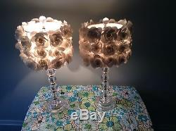 Pair Of Crystal Lamps With White Rosette Shades Vtg Working 23 Tall