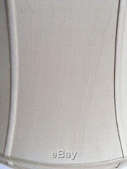 Pair Of Fine QualityLarge Ivory Shot Silk Pagoda Lampshades