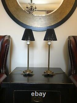Pair Of Vintage Laura Ashley Candlestick Style Brass Lamp Bases & Black Shades