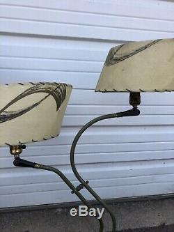 Pair Of Vintage Mid Century Modern Boomerang Style Lamps With Fiber Glass Shades