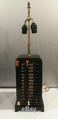 Pair Vintage Asian Oriental Abacus Lamps Internal Light