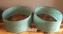 Pair VINTAGE MCM AQUA GREEN LAMP SHADEs 14.75-16.25-7.5 CLEAN THREAD WOVEN