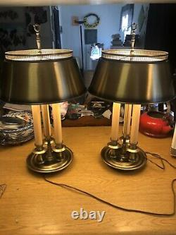 Pair VTG French Frederick Brass Bouillotte Style w Tole Lamp metal Shade 3 way