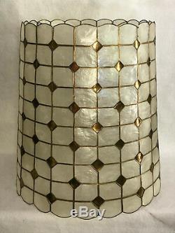 Pair Vintage (2) Mid Century Large Capiz Shell Seashell Lamp Shades 21 x 19