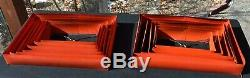 Pair Vintage 50's Mid Century Red Aluminum Venetian Blind LAMP SHADES atomic MOD