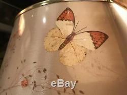 Pair Vintage Butterfly Lamp Shades Van Briggle 16 Fiberglass Drum MCM Retro