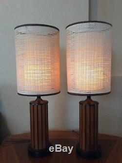 Pair Vintage MID Century Modern Hans Wegner Lamps Fiberglass Shades Lamp