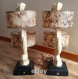 Pair Vintage Mid Century 1950's Majestic Z Sculpture Lamps with Fiberglass Shades