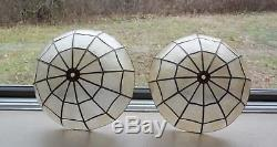 Pair Vintage Mid Century Capiz Shell Chandelier Inverted Dome Lamp Shades