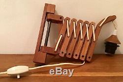 Pair Vintage Mid Century Teak Scissor Lamps Original Corrugated Plastic Shades