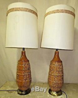 Pair Vintage Mid-century Retro Era Glazed Table Lamps Original Barrel Shade