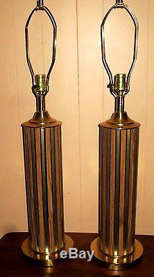 Pair Vintage Midcentury Retro Era Brass & Walnut Table Lamps And Nice Shades