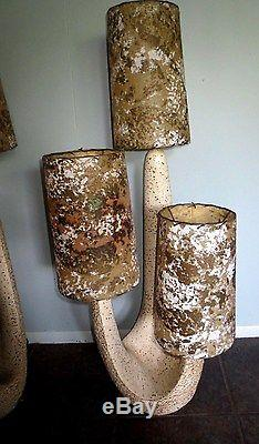 Pair Vintage Midcentury Retro Plasto Cactus Chalk Table Lamp Orginal Shades