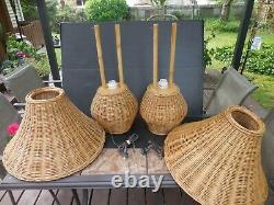 Pair Vintage Rattan, Wicker & Bamboo Table Lamps With Shades 24 Tall