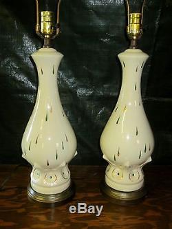 Pair Vintage Retro MID Century Table Lamps No Shades