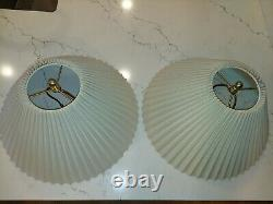 Pair Vintage Stiffel Brass Tulip Lotus Flower Table Lamps with Shades Lilly Pad