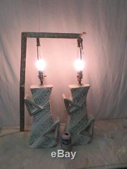 Pair Vintage Zig Zag Mid-century Majestic Retro Atomic Table Lamp No Shades