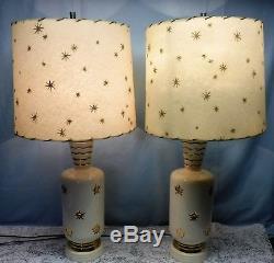 Pair Vtg MCM Atomic Starburst Stars Gold Ceramic Table Lamps Fiberglass Shades