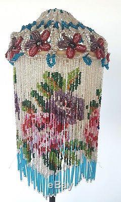 Pair of Czech Glass Bead Lamp Shades Vintage VTG Pink Purple Flowers Blue Beads