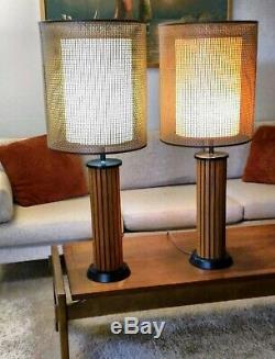 Pair of Hans Wegner Wood Strip Base Rattan Shade Table Lamps Vintage MCM/1969