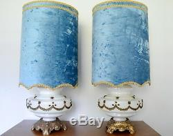 Pair of Large Carnival Glass Lamps with Turquoise Velvet Shades, vintage, 1950s