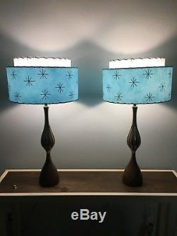 Pair of Mid Century Vintage Style 2 Tier Fiberglass Lamp Shades Atomic Lt. Blue
