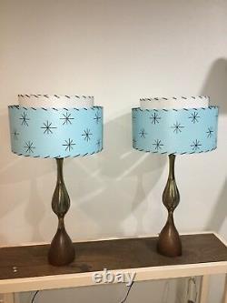 Pair of Mid Century Vintage Style 2 Tier Fiberglass Lamp Shades Atomic Lt. Blue