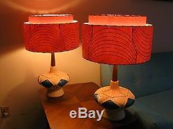 Pair of Mid Century Vintage Style 2 Tier Fiberglass Lamp Shades Atomic PGB2