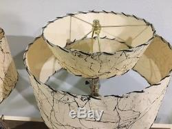 Pair of Mid Century Vintage Style 2 Tier Fiberglass Lamp Shades Starburst IBGS