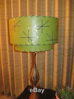 Pair of Mid Century Vintage Style 2 Tier Fiberglass Lamp Shades Starburst O2I