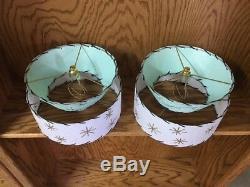 Pair of Mid Century Vintage Style 2 Tier Fiberglass Lamp Shades Starburst SFW