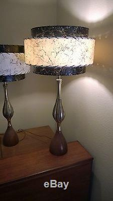 Pair of Mid Century Vintage Style 3 Tier Fiberglass Lamp Shades 2