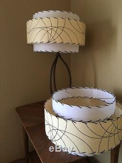 Pair of Mid Century Vintage Style 3 Tier Fiberglass Lamp Shades Atomic Ivory/Wht