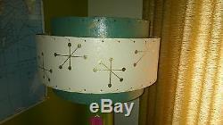Pair of Mid Century Vintage Style 3 Tier Fiberglass Lamp Shades Atomic Starburst