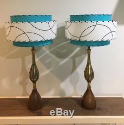 Pair of Mid Century Vintage Style 3 Tier Fiberglass Lamp Shades Atomic Turquoise