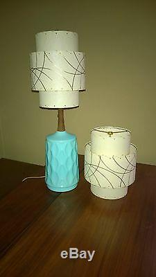 Pair of Mid Century Vintage Style 3 Tier Fiberglass Lamp Shades IV/SML