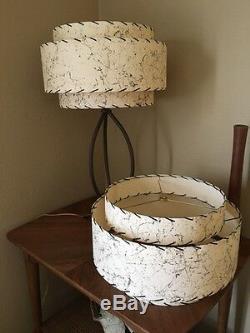 Pair of Mid Century Vintage Style 3 Tier Fiberglass Lamp Shades Ivory