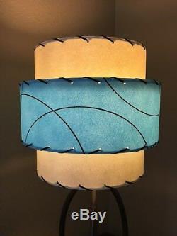 Pair of Mid Century Vintage Style 3 Tier Fiberglass Lamp Shades Modern Retro