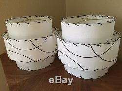 Pair of Mid Century Vintage Style 3 Tier Fiberglass Lamp Shades Modern Retro WHT
