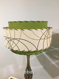 Pair of Mid Century Vintage Style 3 Tier Fiberglass Lamp Shades Olive Green