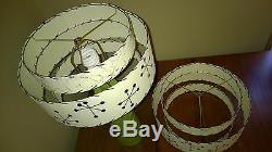 Pair of Mid Century Vintage Style 3 Tier Fiberglass Lamp Shades Starburst Atomic