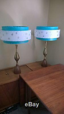 Pair of Mid Century Vintage Style 3 Tier Fiberglass Lamp Shades Starburst TQW