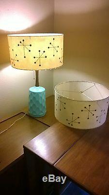 Pair of Mid Century Vintage Style Fiberglass Lamp Shades Modern Atomic IGSB