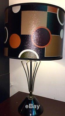 Pair of TRUE VINTAGE FUNKY Mid Century Fiberglass Lamp Shades Modern 14x10 EVC
