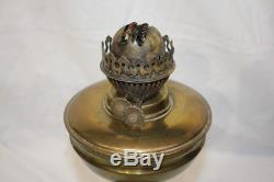 Pair of Vintage Brass Columned Dual Wick Oil Lamps with Chimney & Green Shades
