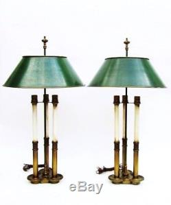 Pair of Vintage French Bouilotte Brass Stiffel 3 Way Table Lamps with Metal Shades