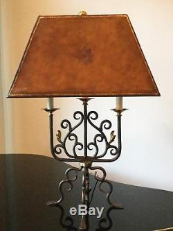 Pair of Vintage Maitland Smith Table Lamps with Tooled Leather Fx Leather Shade