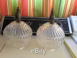 Pair of Vintage Mid Century Clear Cut Glass Swag Lamp Globes Shades Pinnacle