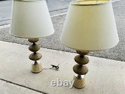 Pair of Vintage Mid Century Cork Table Lamps With Or Without Shades Stunning